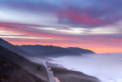 Highway 1 in Big Sur at sunrise