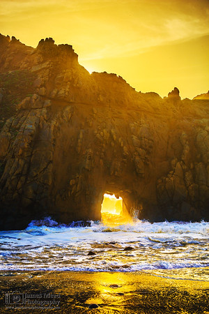 """Keyhole,"" Keyhole Arch Sunset, Pfeiffer Beach, Big Sur, California"