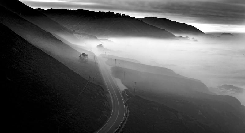 Morning mist on Highway 1 in Big Sur