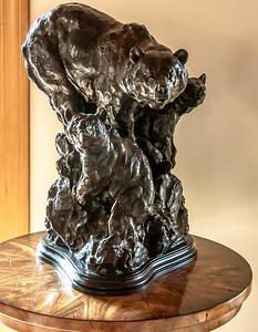 Beautiful Bear bronze in the Lodge