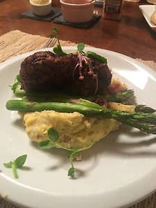 Filet, fancy mushrooms, saffron twice whipped potatoes and asparagus...insane