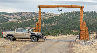 Entry gate at 4C Ranch--constructed with ranch fir trees