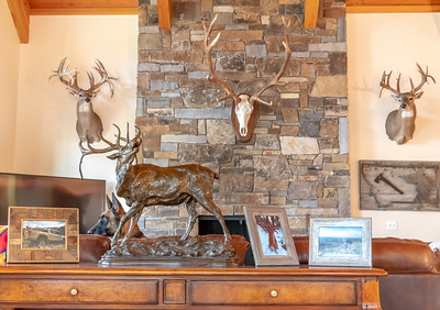 """Bri """"is working"""" amongst the bronze sculpture and antler displays"""