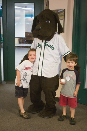 Big Train, Homer and Bunt visit Potomac Public Library to promote the summer reading program