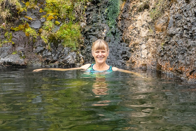 Seljavallalaug Geothermal pool and Stef enjoying the warmth