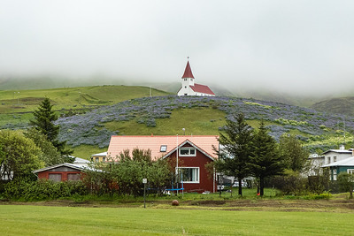 Church above town of Vik