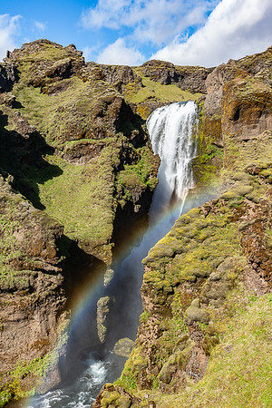 Skogafoss Canyon Waterfall and Rainbox