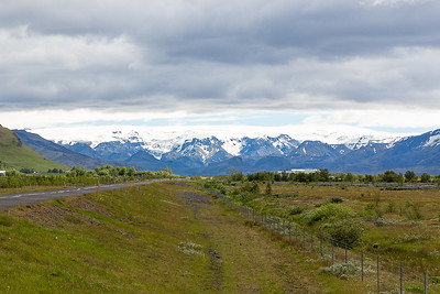 Mountain Scenery - Mydalsjokull Icecap in the distance
