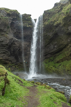 Kvernufoss Hike - see Stef in the Green Jacket behind the Waterfall?