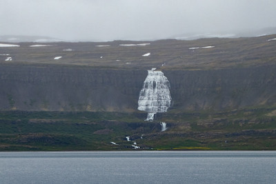 Dynjandi Waterfall from across the Fjord