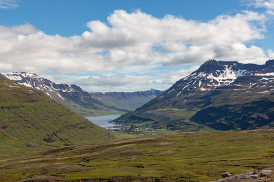 Scenery above Seydisfjordur, town below