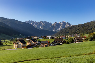 Morning View of the Village and the West Dachstein Mountains