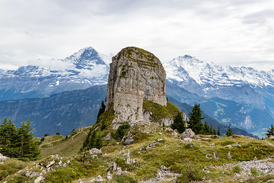 Interesting Rock Outcrop, Eiger and Monch Behind