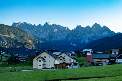 Arriving in Gosau at Dusk and West Dachstein Mountains