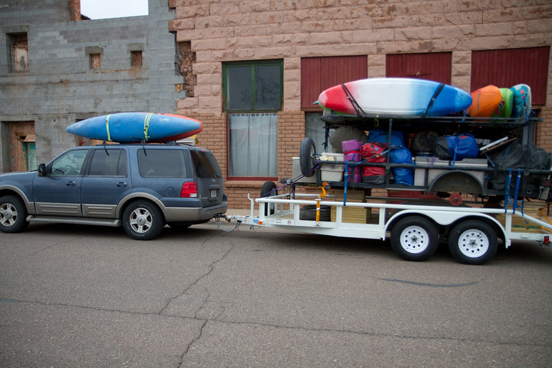 I'm a two trailer man, loaded.<br /> <br /> Joel and I had a rough trip out. Rebuilt 3 bearing assemblies and finaly bought a trailer to carry the trailer. 48 hours of hand to hand...
