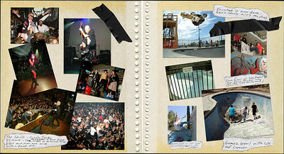 The photos that are contained in the book range from backyard pools, clean ups and skating by very young kids to noted veteran skaters. Plenty of skatepark skating along with lots of out of the way places. All this is mixed together with punk show photos of very well known bands to the lesser known. Stage diving, slam dancing and the large crowds that can be seen at these shows. The photos have captions of the experience rather than a story and leaves the viewer to interpret what they are seeing in their own way.