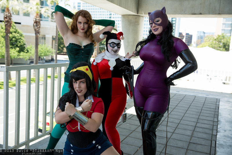 Wonder Woman, Poison Ivy, Harley Quinn, and Catwoman