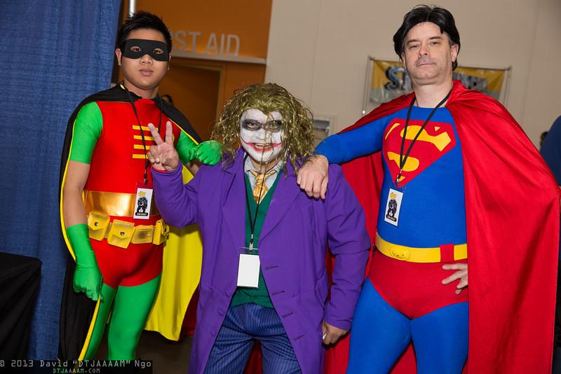 Robin, Joker, and Superman