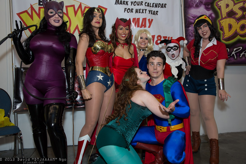 Catwoman, Wonder Women, Poison Ivy, Scarlet Witch, Black Canary, and Superman