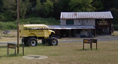 GIANT SOUTH PARK BUS: Hamburger joint the Peg House is home to a giant school bus from South Park. (Photo from Google Street View)