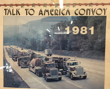 GIANT PEANUT: The Talk to America Convoy - seen here as part of a 1981 calendar - attempted to take a giant carved peanut from Eureka to Washington, D.C., in protest of then-President Jimmy Carter's plan to expand Redwood National Park in Orick. (Ruth Schneider - The Times-Standard)