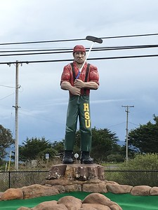 GIANT LUMBERJACK: He's an HSU Lumberjack and he's OK playing a round of golf at the mini-golf course in Manila. (Ruth Schneider - The Times-Standard)