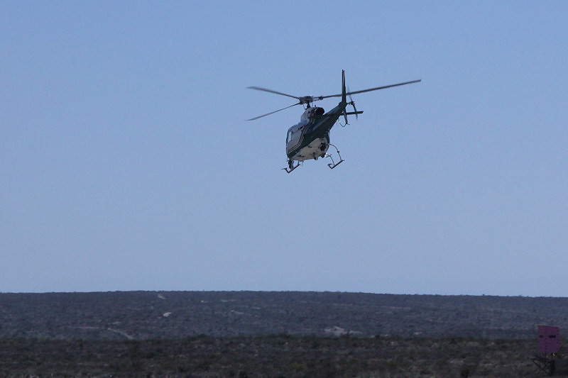 US Border Patrol Helicopter just west of Sanderson, TX