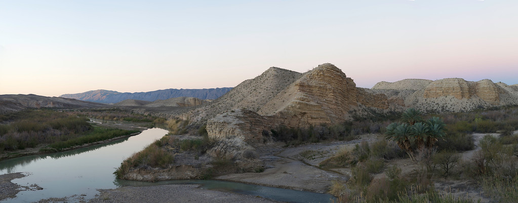 Sunrise, Hot Springs, Sierra de San Vicente in the background<br /> Big Bend National Park<br /> Texas<br /> 3-2013