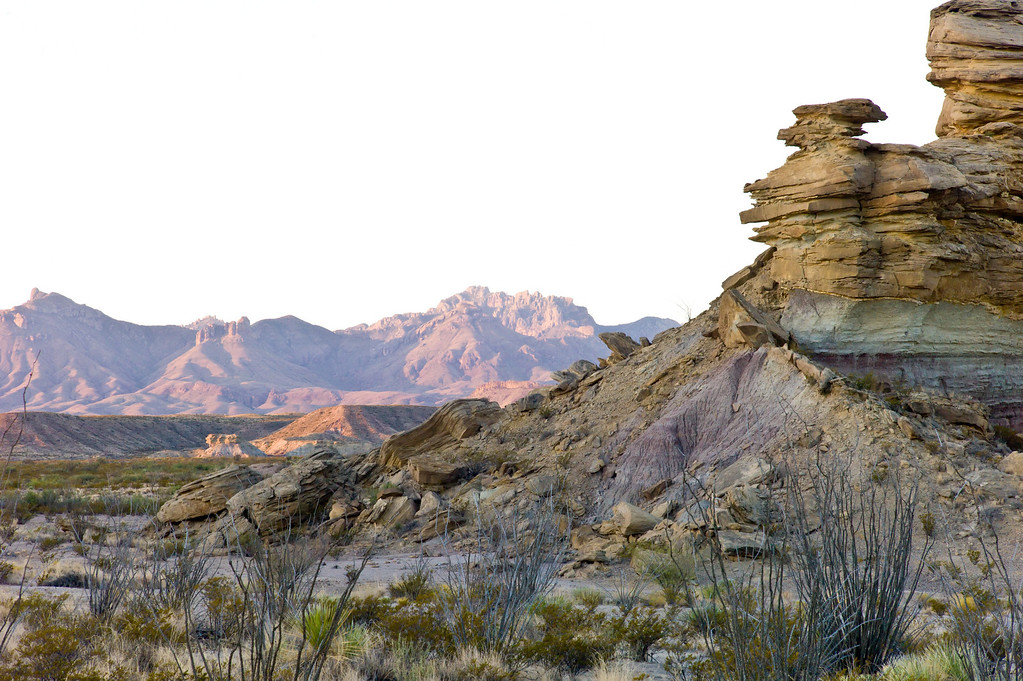Hoodoos at Tornillo Creek<br /> Chisos Mountains in the background<br /> Big Bend National Park <br /> Texas<br /> October 2010