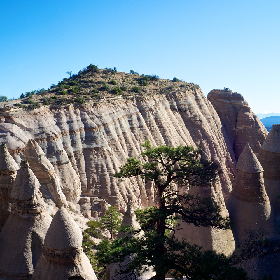 The final stage of the trail involves a hike up to the top along a narrow trail that ascends about 600 feet.  The view offers a panorama of the tent rocks and the surrounding area.  It is clearly worth the hike.