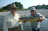 Bob and Brian with a big dry fly eater!  Photo: Judy Maben