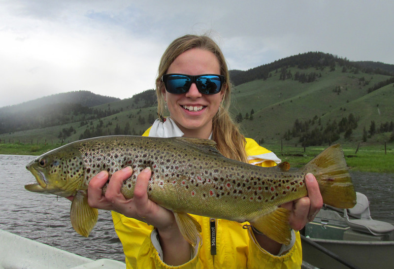 Alix Gabus with a Bighole brown during salmonfly time... Photo:  Blart