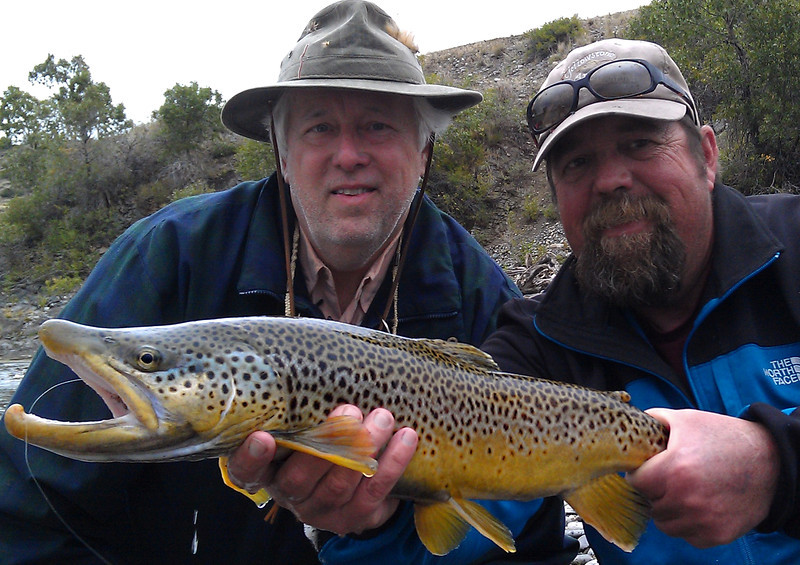 Harold Dunaway and Bob Bergquist with a big Yellowstone brown...