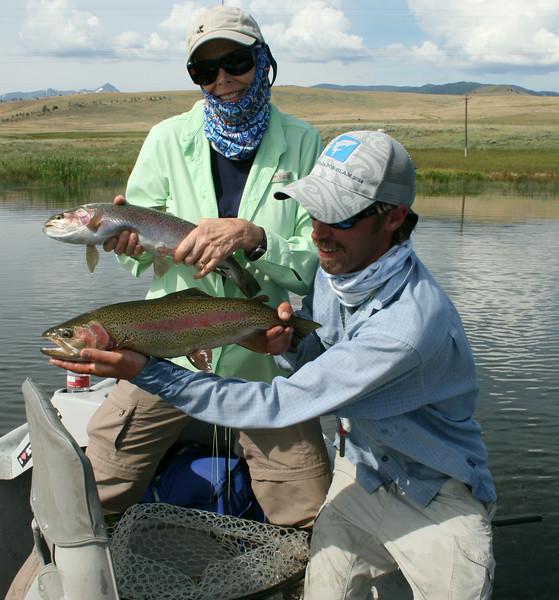 Tink McDevitt and Doug Mcknight with a lake double... Photo: Ralph McDevitt