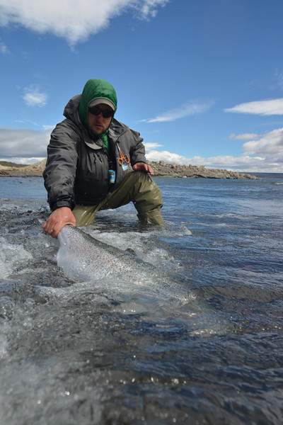 """Head guide """"Pollo"""" releasing a good one... Photo: James Anderson"""