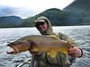 Jedwards with a nice Chilean brown, while fishing with Magic Waters...