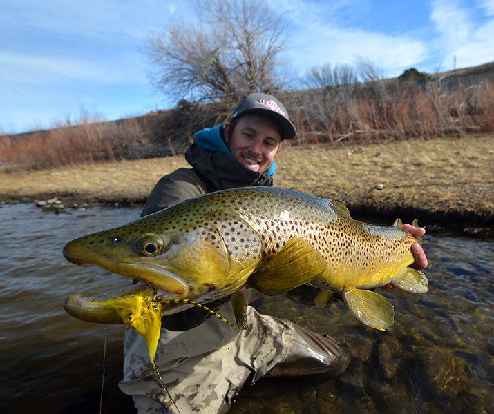 Paul Bloch with the better half of a brown trout double... Photo: James Anderson