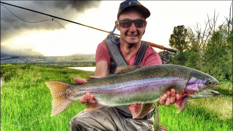 Forrest Lewton with a gagger Montana rainbow!  Photo: Mr. Lewton