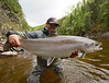 Eric Paulson with a fine Atlantic Salmon caught on a Tiger Ghost... Photo: Drapper Clark