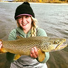 Jess Kelly with a big lower river brown!  Photo: Justin Stackfish