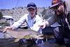Brian Chassy and John Bond with a Yellowstone stud.  Photo: Jack Kingston