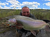 Steve Flood with 26 inches of Yellowstone River cutbow - caught on a salmonfly dry!  Photo: Hank Bechard