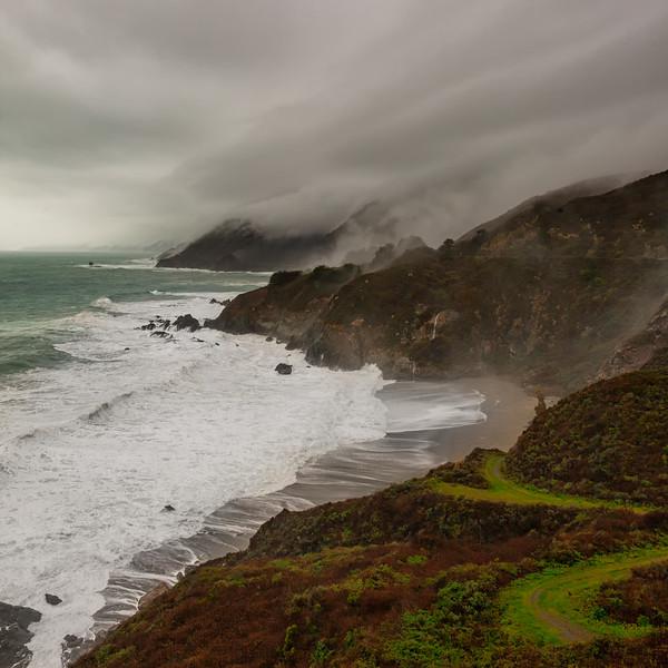 Morning Fog and Waves Big Sur