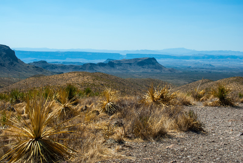 The notch in the middle is Santa Elena Canyon; 14 miles away. Kit Mountain to the right of the notch.