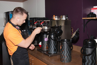 Making the brew at Biggby Coffee in Defiance, Ohio.