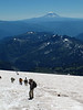 Mount Adams and hikers approaching Camp Muir.