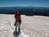 Shannon on the Muir Snowfield. Mount Adams in the background.