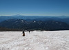 Mount Adams (left), Mount Hood (barely visible on the horizon near the center of the picture) and Mount St. Helens (right) from the trail.
