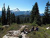 At our (arbitrary) turaround point on the Lost Creek Ridge. Admiring the Sloan Peak.