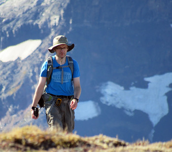 Robert hiking on the vast flat summit (or maybe rather a plateau) of the First Burroughs Mountain. Taken by Shannon Campbell.
